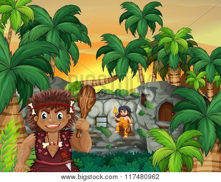 Cave people living in the forest illustration