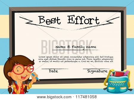Diploma template with girl and board illustration