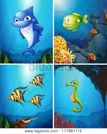 Sea animals swimming in the ocean illustration