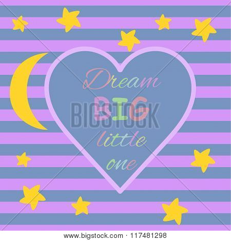 Greeting card template Heart frame, Moon, stars and stripes background, Seamless star background tem
