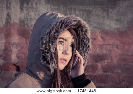 Portrait Of A Teenage Girl Outdoor Wearing Winter Coat