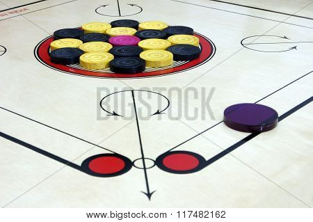 Carrom Board With Striker And Coins