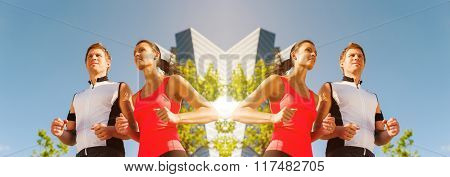 Woman and man running for better fitness in city, banner, mirrored image