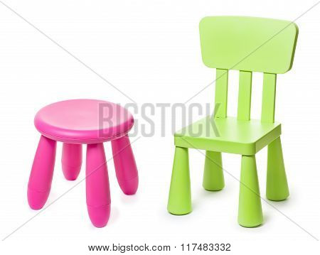baby green plastic stools on a white background