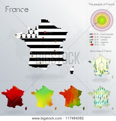 Modern Geometric And Political Map Of France. Bretons People Immigration To France. Bretons People D
