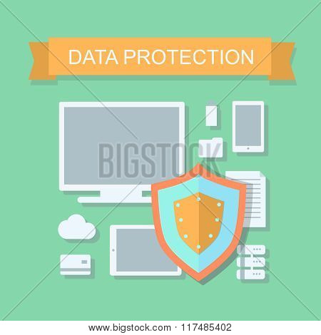 Business data protection and cloud network security  illustration.  flat design concept