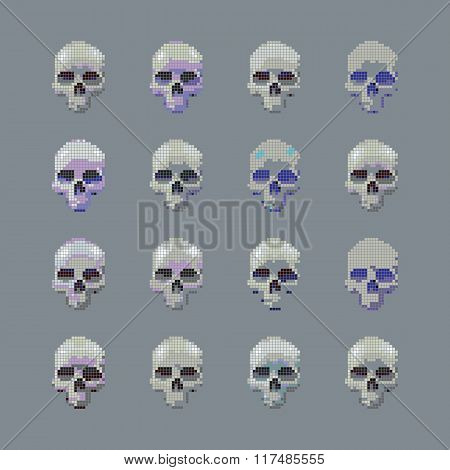 Vector set of stylized skull on a gray background isolated.