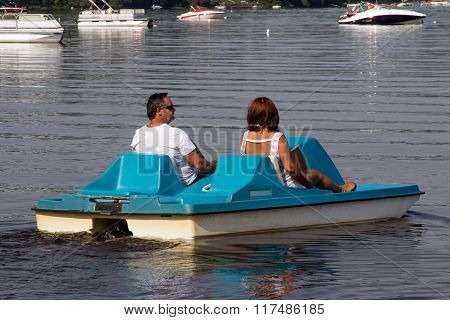 Senior Couple On Pedalo Also Called Pedal Boat