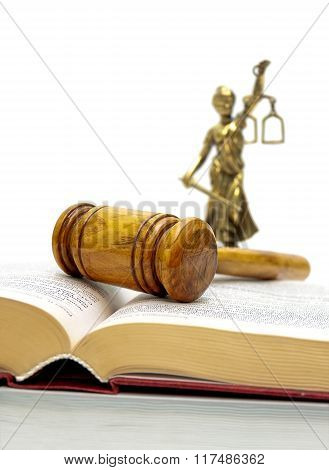 Judge Hammer, The Book Of Laws And Justice Statue.