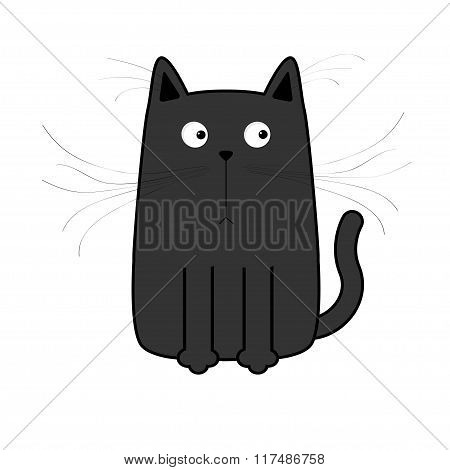 Cute Black Cartoon Cat. Big Mustache Whisker. Funny Character. Flat Design. White Background. Isolat