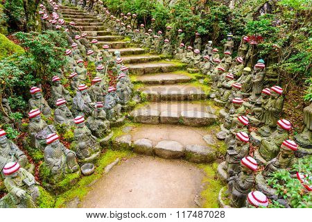Miyajima Island, Hiroshima, Japan at the buddha lined pathways at Daisho-in Temple grounds.