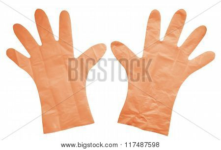 Plastic Gloves Isolated - Orange