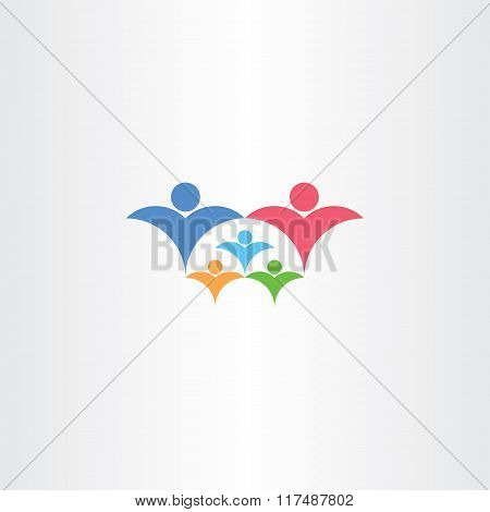Family Rich With Kids Icon Third Child Vector Concept