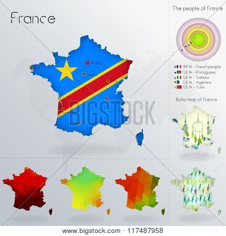 Modern Geometric And Political Map Of France. Kongo People Immigration To France. Kongo People Peopl