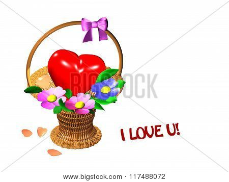 basket with heart and flowers