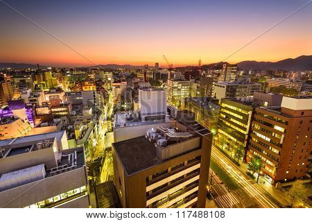 Kumamoto, Japan downtown city skyline.