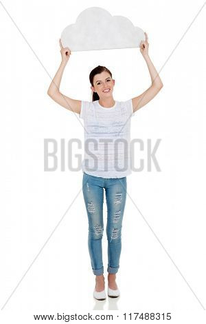 cheerful teen girl holding cut out paper cloud isolated on white