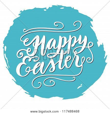 Happy Easter Blue And White Print.