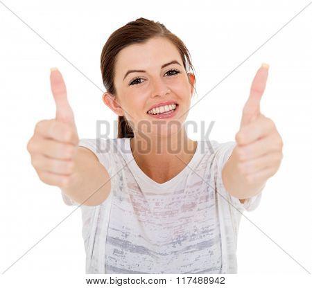 cheerful teen girl thumbs up
