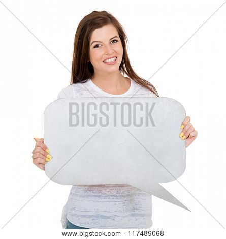 happy teen girl with blank text bubble