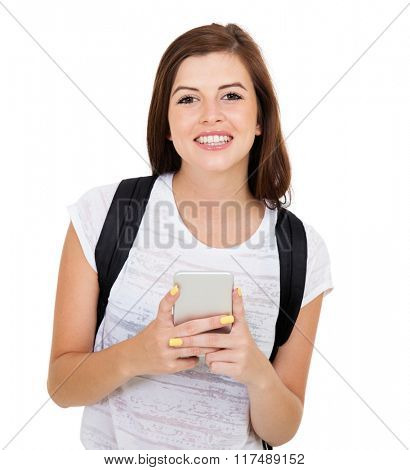 portrait of young college student with smart phone isolated on white