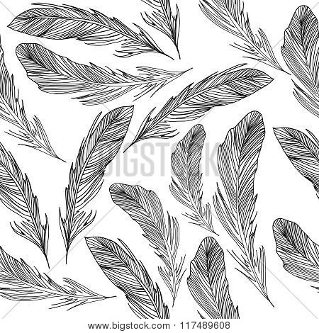 Seamless pattern with black feathers