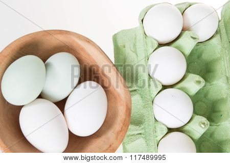 Chicken Eggs, Green And White In A Eggshell