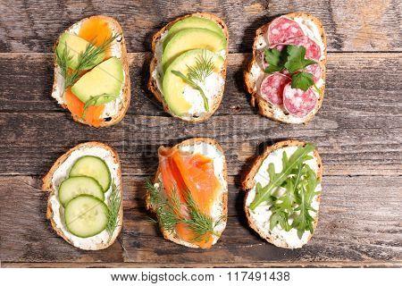 various sandwich, brushetta