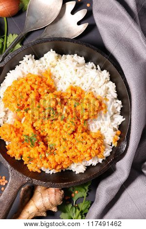 red lentils and rice in pan