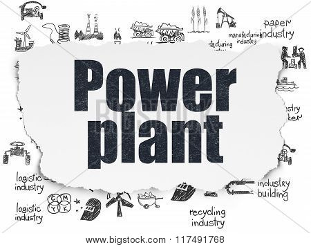 Industry concept: Power Plant on Torn Paper background