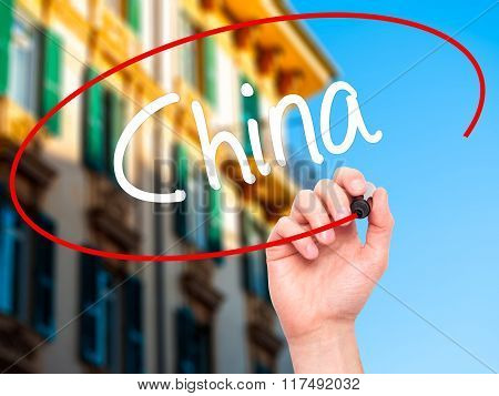 Man Hand Writing China With Black Marker On Visual Screen