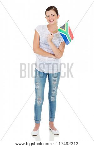 pretty young woman holding south african flag