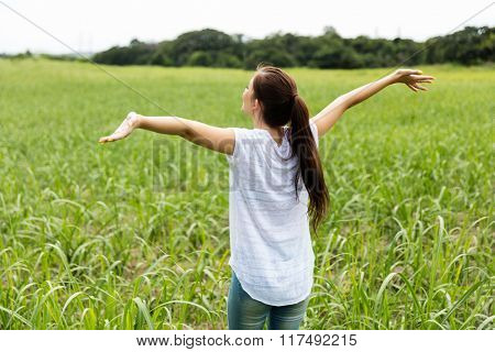 rear view of teen girl with arms outstretched on sugarcane field