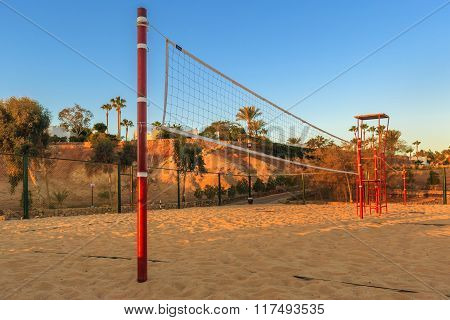 Volleyball net in the morning on beach, Egypt