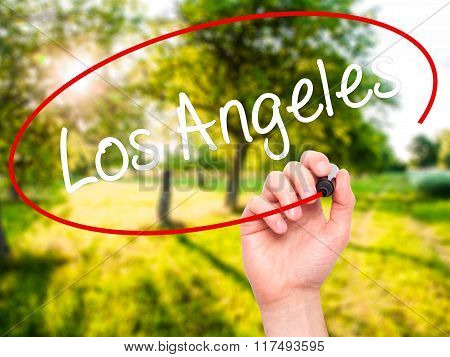 Man Hand Writing Los Angeles With Black Marker On Visual Screen