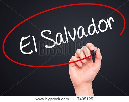 Man Hand Writing El Salvador With Black Marker On Visual Screen