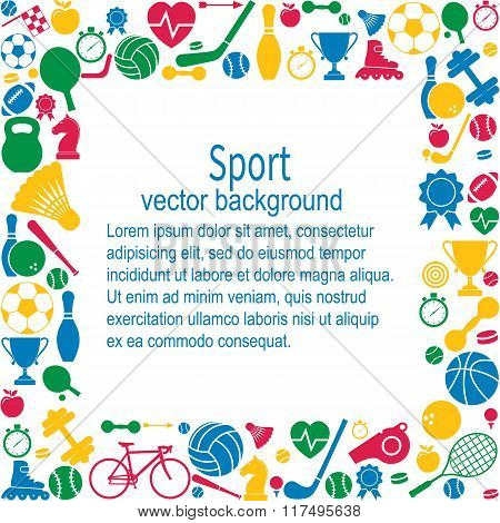 Sports Background. Sports Icon With Space For Text. Sports And Fitness Icons In Flat Style