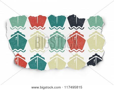 Vacation concept: Ship icons on Torn Paper background