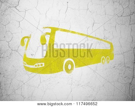 Vacation concept: Bus on wall background