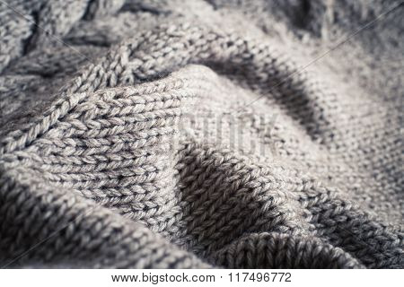 Knitted Fabric Wool Texture Close Up