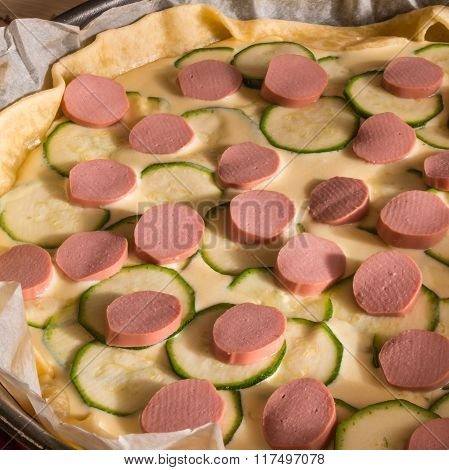 Raw Wurstel And Zucchini Savoury Pie, Puff