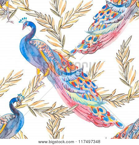 Beautiful peacock pattern. Vector. Peacocks and plants.