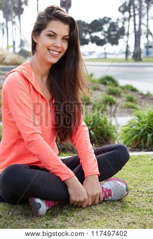 Beautiful young smiling sporty girl