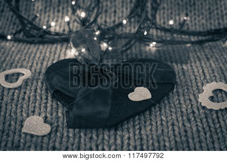 Small White Decorative Heart On A Big Felt Heart With Bow