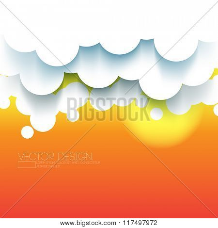 paper clouds sunset background