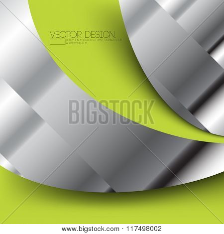 metallic elements with green wave frame material  background design