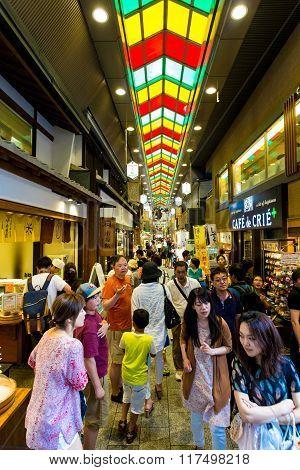 Nishiki Food Market Inside People Shops Kyoto