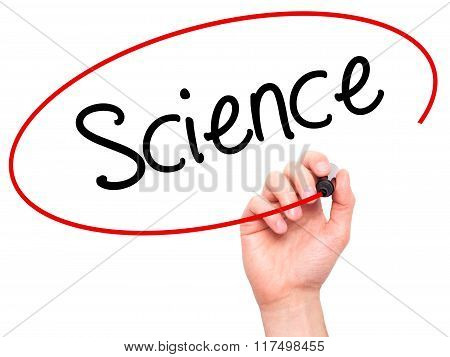 Man Hand Writing Science With Black Marker On Visual Screen