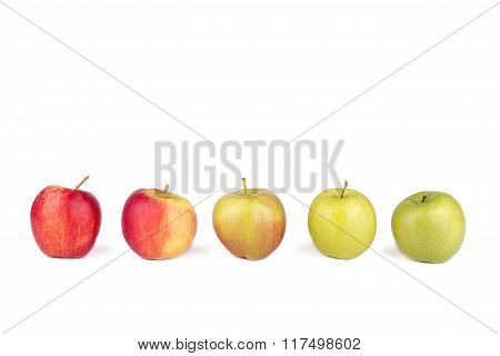 Apples Standing In A Row On White Isolated Background.