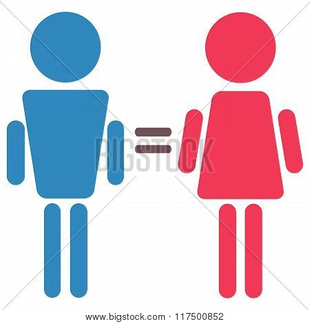Woman And Man Equality, Pink And Blue Symbols Isolated Vector